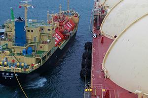 国内初の2 船体間天然ガス洋上荷役におけるトライアルの様子
